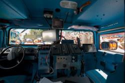 The cab resembles that of a space shuttle instead of a 20 year old military vehicle
