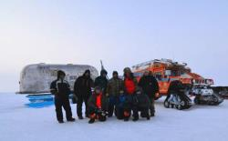 Here the ZERO SOUTH team celebrates a successful test excursion of the PTVs in Alaska