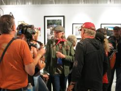 Doobie Brothers singer Patrick Simmons and actor Tom Berenger at the Motorcycles as Art show