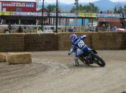 Sammy Halbert racing in American Flat Track at the Buffalo Chip in Sturgis, South Dakota