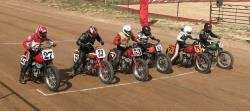 The vintage race bikes at the Spirit of Sturgis races ready for the start