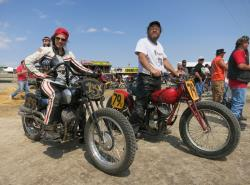 Brittney Olsen on her vintage race bike in Sturgis, South Dakota