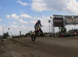A jump at the American Flat Track race at the Buffalo Chip in Sturgis, South Dakota