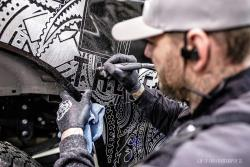 Hank Robinson of Hanro Studios engraves his latest show truck for the 2017 SEMA Show