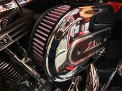 K&N filter installed in a Harley-Davidson Screamin' Eagle intake