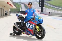American Superbike Champion Toni Elias shows the K&N race filter for the Suzuki GSX-R1000