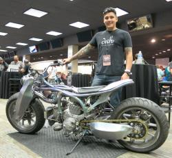 Dana Wolfe Hood and his custom Ducati build at the Artistry in Iron show at the Las Vegas Bikefest