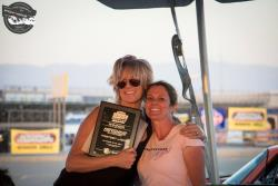 Photo of Jane with Trish Byrd/Racing Byrds after winning NMCAWest Hotchkis Cup Fastest Lady