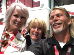 Photo Inside SEMA with racers Jane Thurmond and Mary Pozzi along side Robert Byrd of Racing Byrds