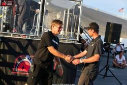 Photo of Mike Maier congratulating Cliff Elliott at Pikes Peak International Raceway
