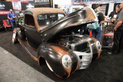 The 1940 Ford sits on a Morrison chassis with IFS and a solid rear axle with quick change center