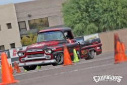 Photo of Wes Drelleshak in his '59 Chevy Apache out on the autocross course