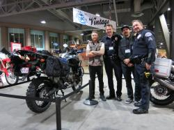 Roland Sands, the Africa Twin, and members of the RBPD at the Long Beach IMS