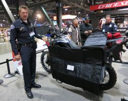 Redondo Beach Police Chief Kauffman displaying the Africa Twin's built-in body armor