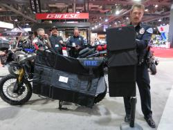 Additional ballistic armor on the RBPD Africa Twin at the Long Beach International Motorcycle Show