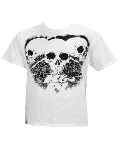 88-6014-M T-Shirt; 3 Skulls Black on White