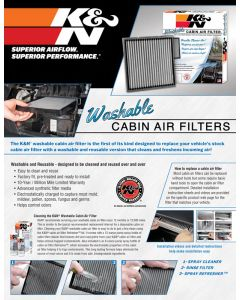 89-11670 POP; Sell Sheet, K&N Cabin Air Filters