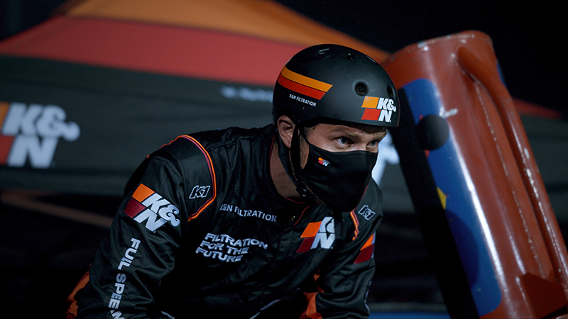 Pit crew member wearing a K&N face mask