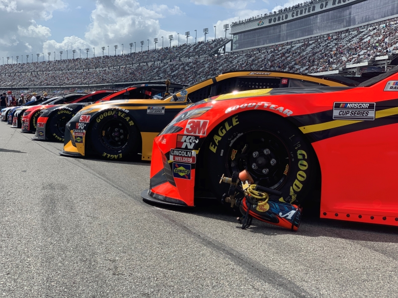 Racecars lined up at the 2020 Daytona 500