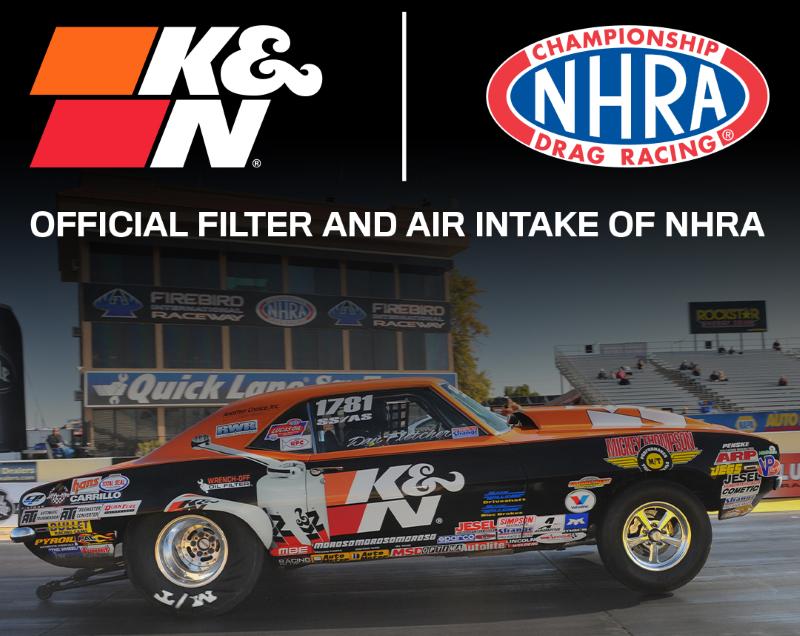 Image of NHRA pro stock car with NHRA and K&N logos