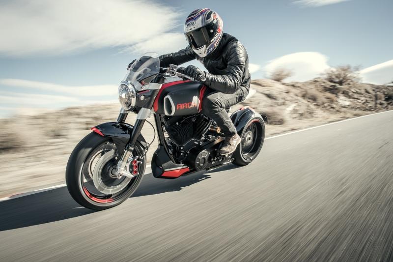 Rider on cruiser motorcycle on highway