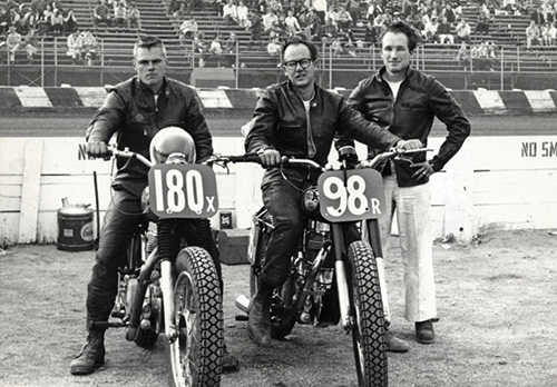 Norm McDonald, Ray Lee, and Ken Johnson with motorcycles circa 1960s