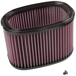 K&N high flow air filter, KA-7408, with provided plug for 2008 to 2015 Kawasaki KVF750 Fuel Injected 4X4 and 4X4 Brute Force UTVs