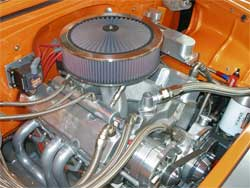 All-aluminum 350 engine with K&N air and oil filters in 1955 Chevy