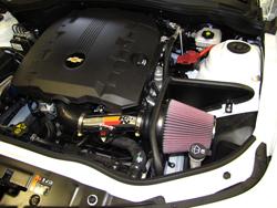 K&N Air Intake under the hood of Chevy Camaro