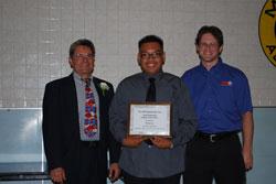 K&N Scholarship presented to San Gabriel High School student Steven Loc by K&N's Steve Gibson and Instructor Eli Jaramillo