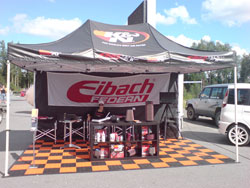 Aaltonen Motorsport set their booth near the track where spectators could see and touch an assortment of K&N air filters