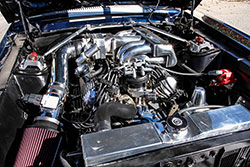 K&N high performance cone air filter feeds the Ford GT40 intake on this 1967 Mustang GT Fastback