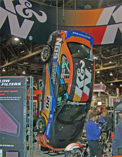 Mitsubishi Lancer Evo IX that went end over end at the X Games at SEMA