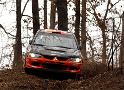 NOS Energy Mitsubishi Lancer Evolution IX Ready for 100 Acre Wood Rally in Rally America's second round, photo by Scott Rains