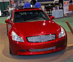 2008 G37 Sedan Concept was painted with base gold under eleven coats of Sunset Red Candy