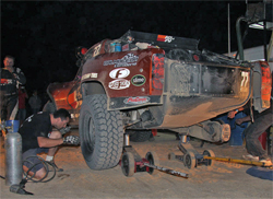 The K&N Filters No. 22 Trophy Truck hit a booby trap along the beach in the Baja 1000