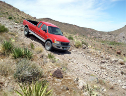 Sierra Grande crossing in Ford F-150 on the way to Borrego before the Baja 500, photo by Nick Socha