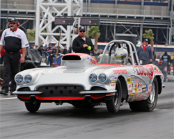 1962 Corvette driven by Thomas Bayer to compete in the 55th anniversary of the MAC Tools U.S. Nationals at O'Reilly Raceway Park in Indianapolis