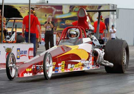 Undercover Top Dragster driven by Brian Folk at the Knoll Gas Motorsports IHRA Nitro Jam