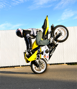 XDL Sportbike Championship Series Rider Brian Bubash executes his favorite stunt, named the Stoppie