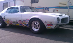 Brad's dad, Scott, has been competing in Stock Eliminator since 1998, he currently races a 1971 Pontiac Formula Firebird.