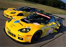 The Corvette C6.R is based on the Corvette ZR1 supercar using the ZR1's body design, aerodynamic package, aluminum frame and chassis structure, photo by GM Corp.
