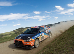 NOS Energy Mitsubishi Lancer Evolution 10 gets better with every event on the Canadian Rally circuit