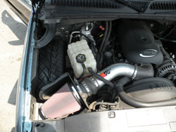 Chris Lara's GMC Sierra 1500 is equipped with K&N air intake system and wrench-off oil filter