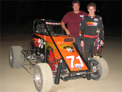 K&N sponsored driver Cody Swanson and his father Kirk Swanson in the Winner's Circle after a USAC Ford Focus Midget Series race at Kings Speedway in Hanford, California