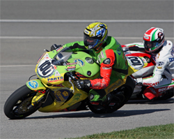 Jake Holden rode in place of Corona Extra Honda Racing's injured rider Neil Hodgson in Fontana, California