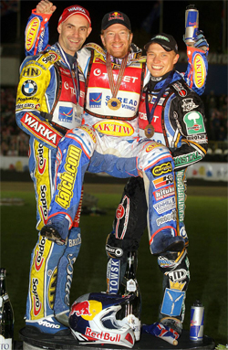 Poland's Tomasz Gollob left, Jason Crump center and Russian teen Emil Sayfutdinov on the podium in the World Championship Grand Prix 2009 fina