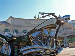 The custom chopper is equipped with K&N products