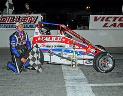 Checkered flag for Jeremy Frankoski after his win at Dillon Motor Speedway in the USAC Ford Focus Carolina Series
