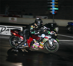 Coby Adams in his Kawasaki ZX14 at the AMA Dragbike National Finals in Valdosta, Georgia